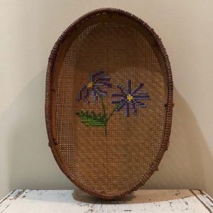 Boho Basket with Floral Embroidery